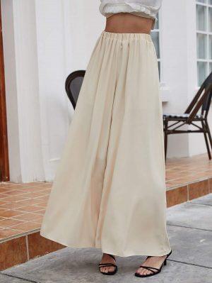 SHEIN Pantalon ample unicolore