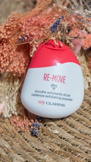 Revue du Trio Expert Peau Parfaite de My Clarins avec la poudre exfoliante Re-Move, le gel nettoyant Re-Move et stick + masque Clear-Out - happinesscoco.com