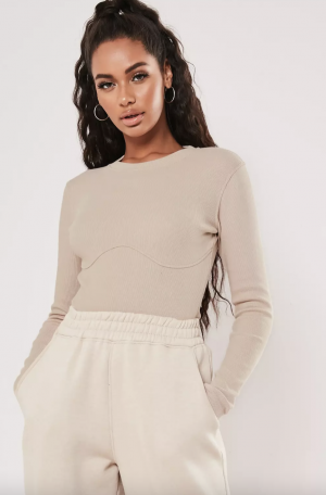 MissGuided body corset côtelé couleur sable