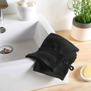 2 gants de toilette 15 x 21 cm eponge unie colors noir