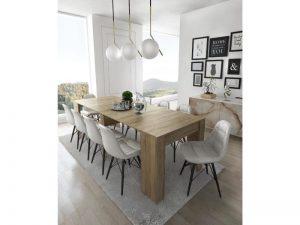 Home innovation – table console extensible, rectangulaire avec rallonges, jusqu'à 237 cm, pour salle à manger et séjour, chêne clair brossé. Jusqu´à 10 personnes. Dimensions fermée : 90x50x78 cm.