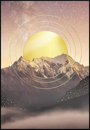 Glam Posters Affiche «Montagne et soleil en or véritable