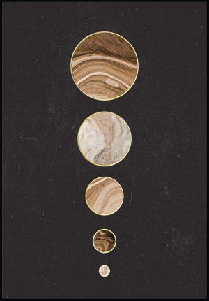 Glam Posters Affiche «Les planètes en rangée en or véritable