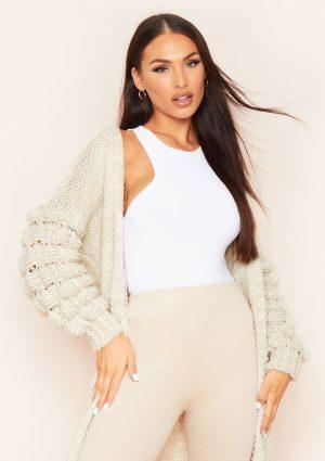 Missyempire Nina Beige Bobble Sleeve Oversized Knitted Cardigan