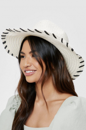 Nastygal Contrasting Natural Straw Fedora Hat