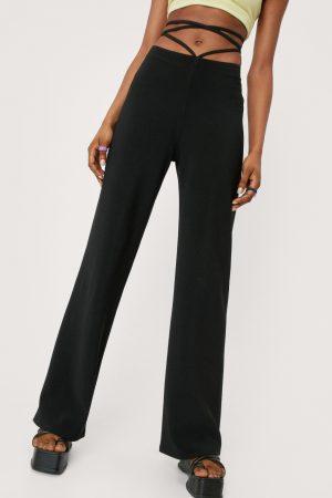 Nastygal Pantalon Droit Taille Haute À Lanières