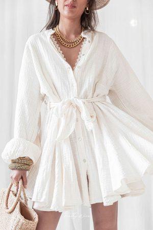 Adele Beige – Robe Gaze De Bambou
