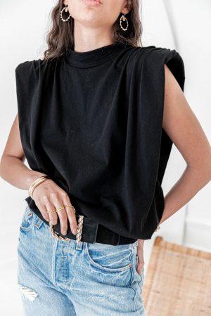 Pretty Wire Loni Noir – T-Shirt Épaulettes Drapé
